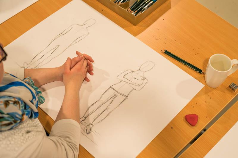 Die Zeichnung einer Teilnehmerin des Zeichenkurses bei Paul Lange