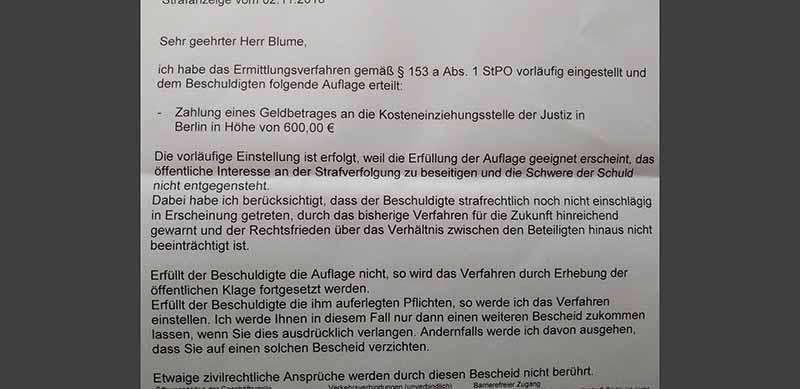 Screenshot von Anzeige Jens Blume- Beleidigungen im Straßenverkehr muss man sich nicht gefallen lassen