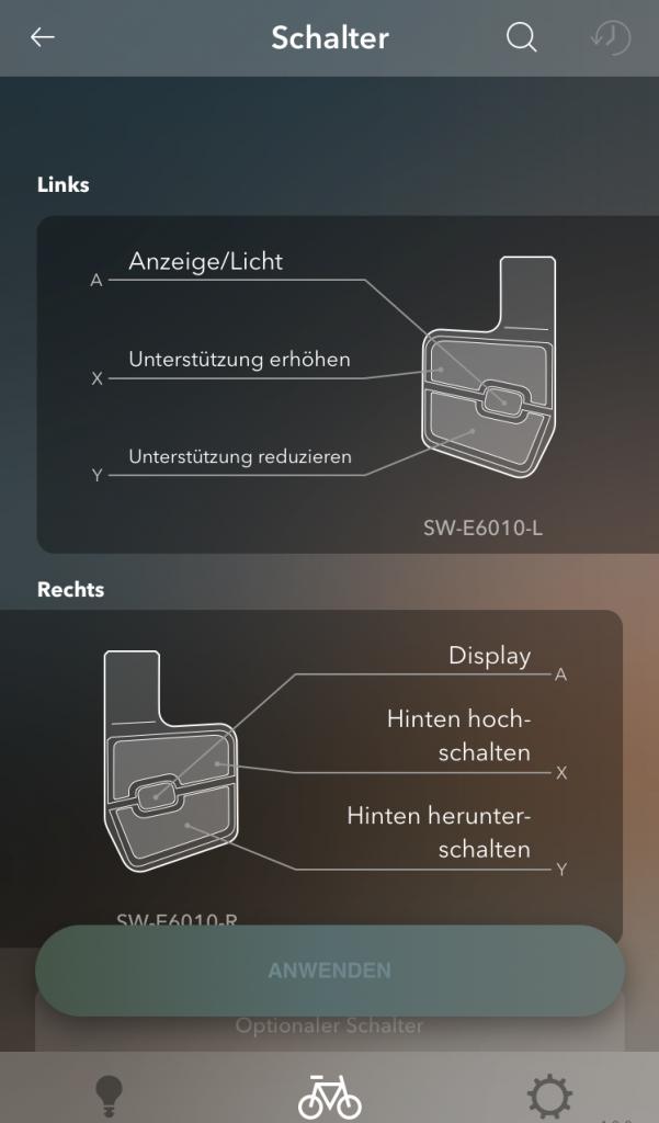 E-Tube-App - Individualisierung der Schalter am E-Bike.