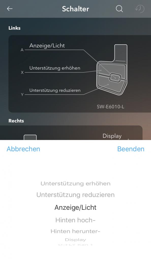 E-Tube-App - Individualisierung Schalter - Optionen.