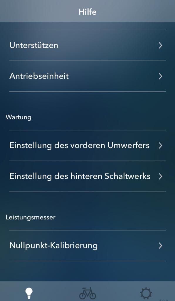 Einstellungsmenü - E-Tube Project App - Weitere Einstellungen