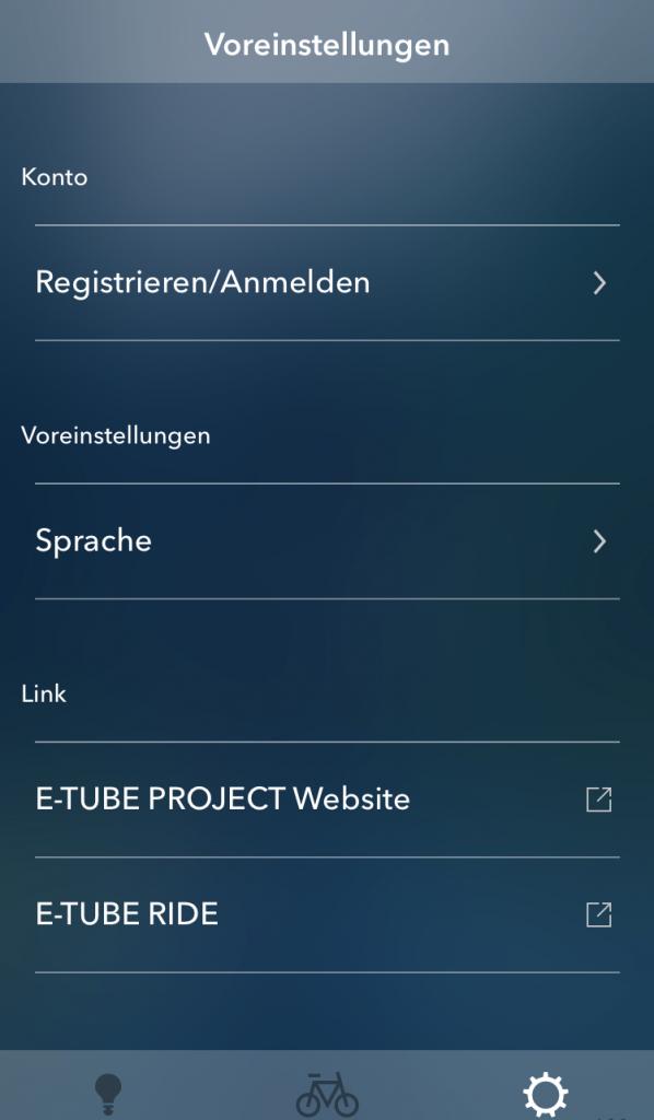 Menü Voreinstellungen - E-Tube Project App SHIMANO
