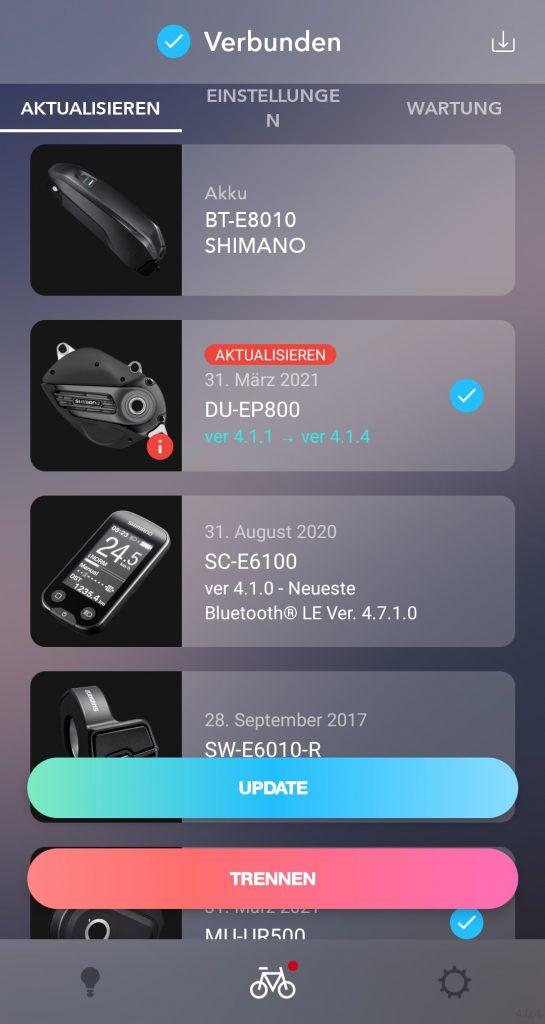 Funktion Aktualisieren der E-Tube Project App