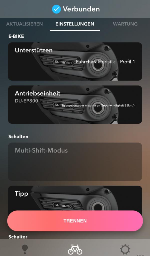 Funktion Einstellungen - E-Tube-App von SHIMANO