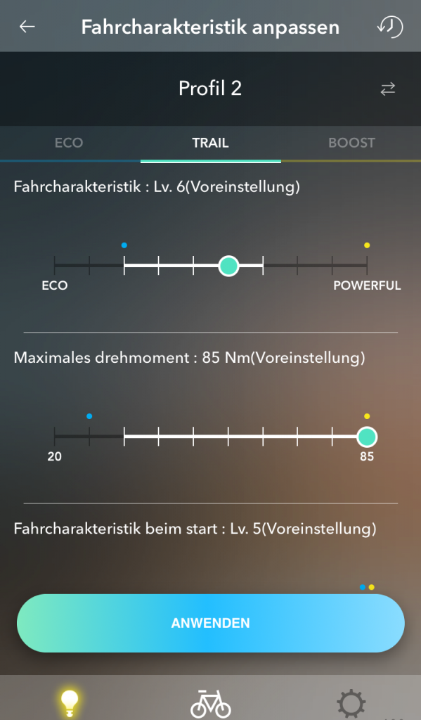 Anpassung Profile und Fahrcharakteristik - E-Tube-App