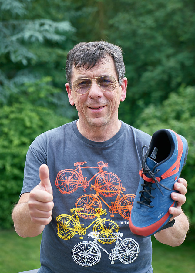Martin Häußermann mit E-Bike-Schuh ET5