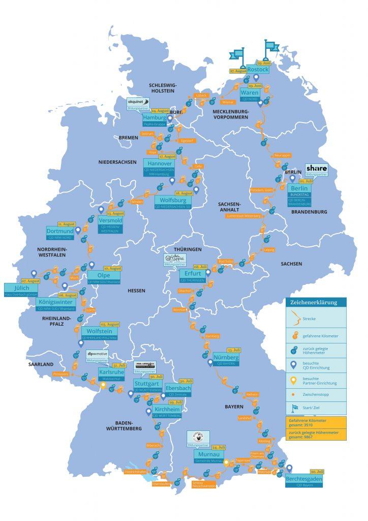 CJD - Karte - Eine Welt für alle - Fahrradtour - Radreise