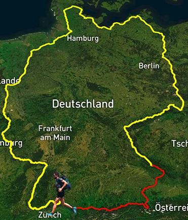 Jonas Deichmann - Triathlon durch Deutschland - Karte