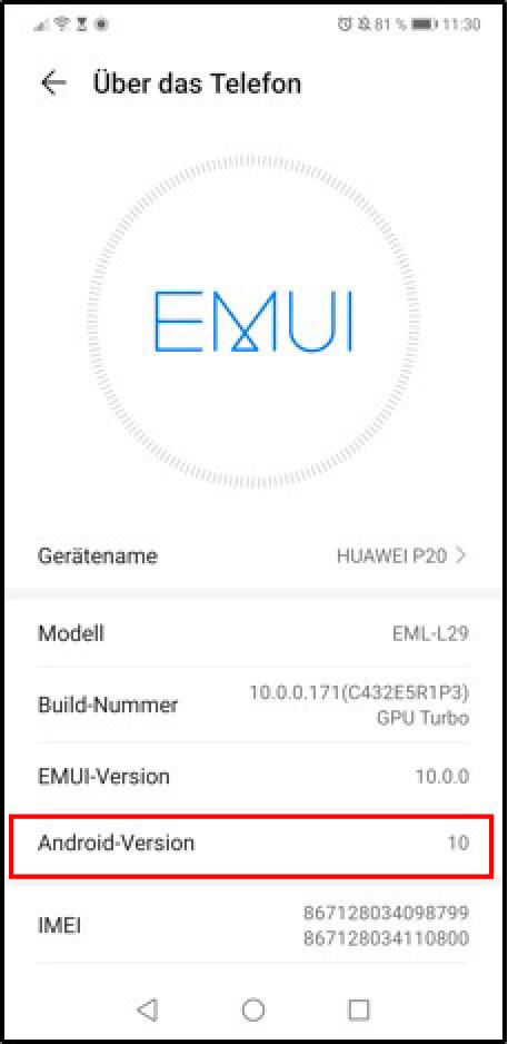 Android Handy Version - Voraussetzung für E-Tube-App
