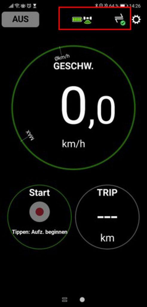 Anzeige des Hauptbildschirms - E-Tube-App