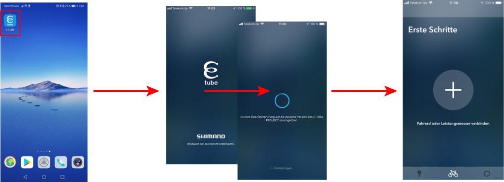 E-Tube starten - Kopplung E-Tube-App