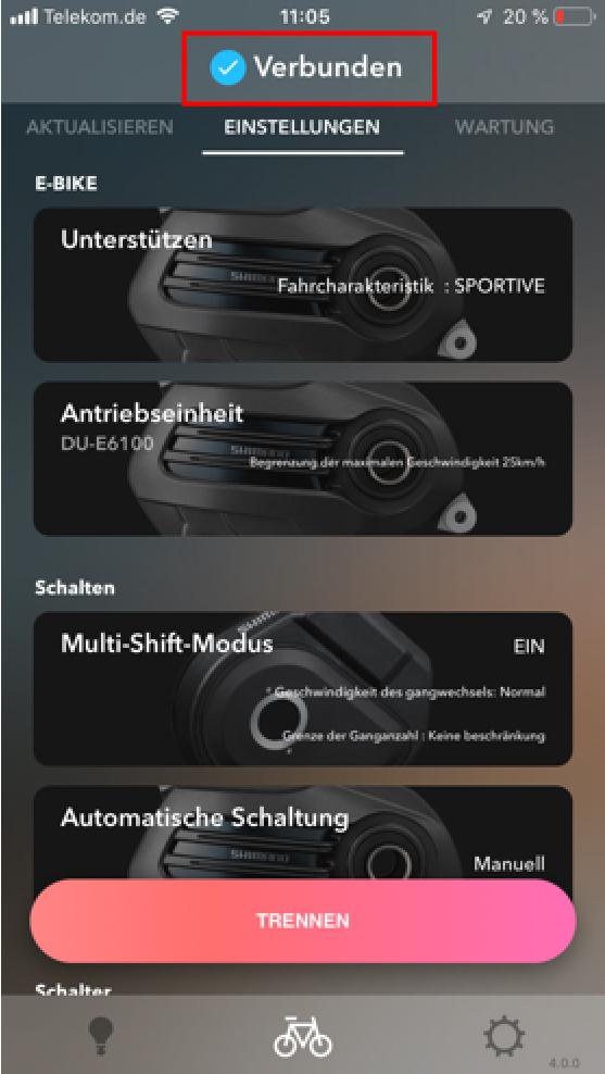 Anzeige des Hauptbildschirms - E-Tube-App Kopplungsanleitung