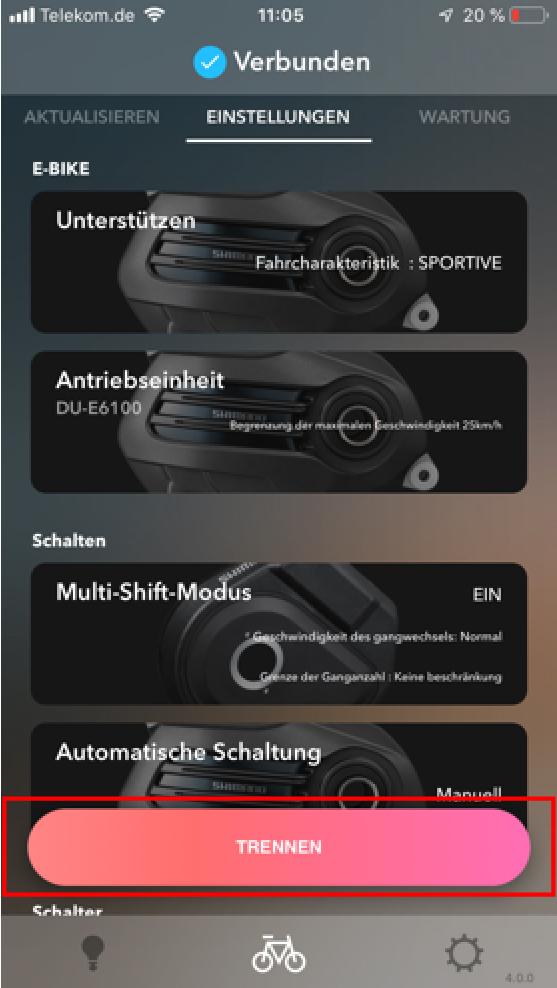 Anzeige des Hauptbildschirms - E-Tube-App trennen