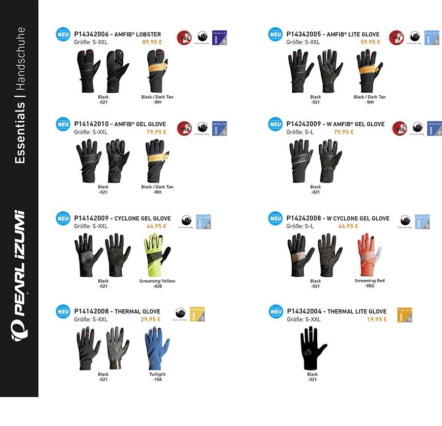 PEARL iZUMi - Handschuhe Übersicht